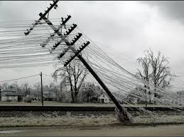 ice storm pole leaning