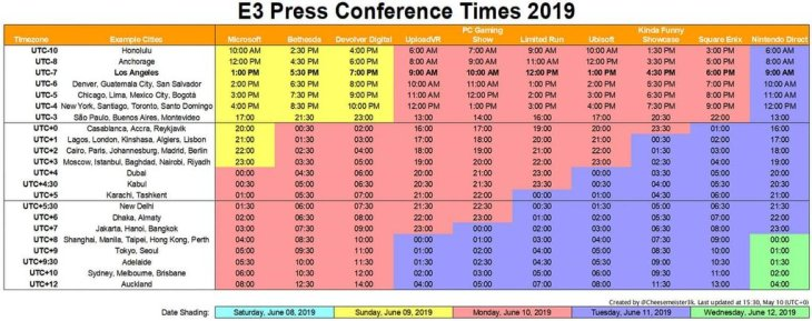 E3 2019 Schedule E3 2019 : Full Conference Schedule with Worldwide Time Zones