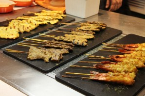 chicken, beef, and prawn satay