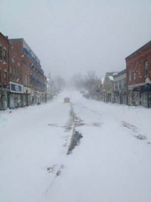 It was a fun ride with Lanita, time to head on home. Looking North on Elm Street, Camden Maine, 04843. Nemo, Blizzard.