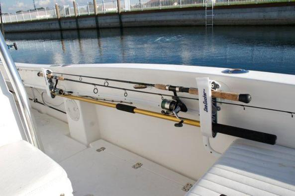 Horizontal Rod Holder mounted along the boats gunwales