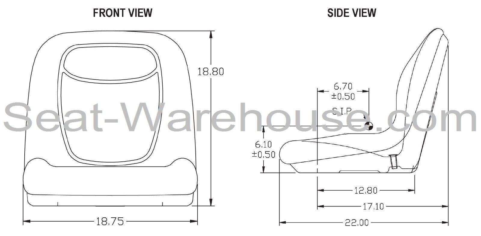 Black High Back Seat W Slide Track Kit For Case Skid Steer Loader 410 420 420ct 430 435