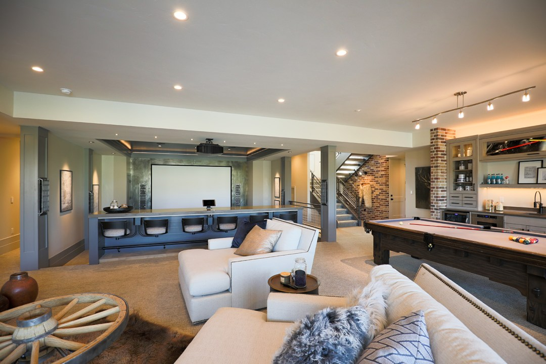 sports bar home theater, basement theater, family room, home theater, media room