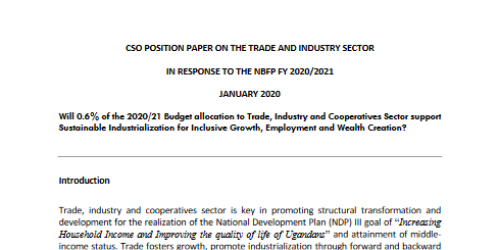 CSO POSITION PAPER ON THE TRADE AND INDUSTRY SECTOR IN RESPONSE TO THE NBFP FY 2020-2021