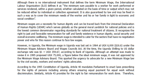 SEATINI Position paper on the Minimum Wage Bill, 2015