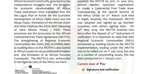 Brief on the state of play of the African Continental Free Trade Area (AfCFTA) Negotiations.