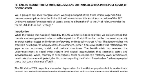 AU CSO STATEMENT: CALL TO RECONSTRUCT A MORE INCLUSIVE AND SUSTAINABLE AFRICA IN THE POST-COVID-19 DISPENSATION