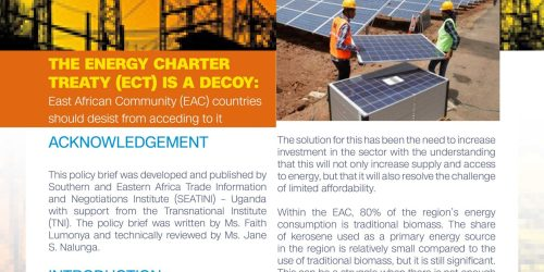 THE ENERGY CHARTER TREATY (ECT) IS A DECOY: East African Community (EAC) Countries Should Desist from Acceding to it
