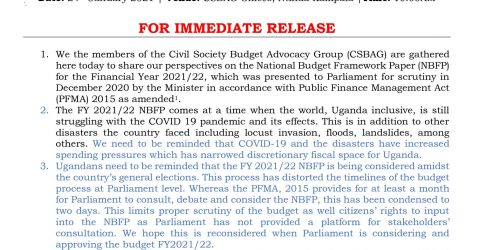 CSO PRESS STATEMENT ON THE NATIONAL BUDGET FRAMEWORK PAPER FOR FY 2021/22