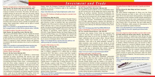 TRADE AND INVESTMENT NEWS HIGHLIGHTS - JULY EDITION