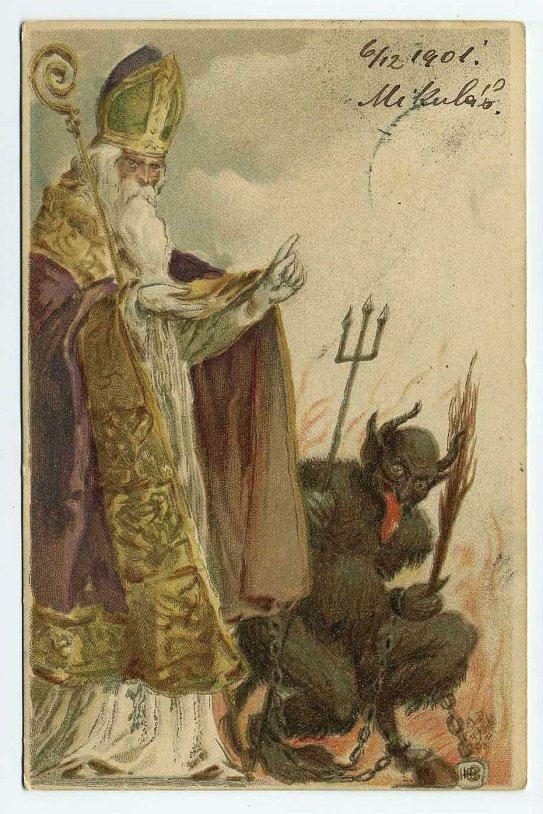 1901 christmas postcard santa krampus