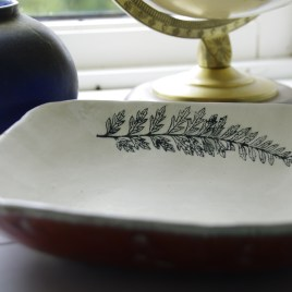 Emily's square(ish) bowl with fern