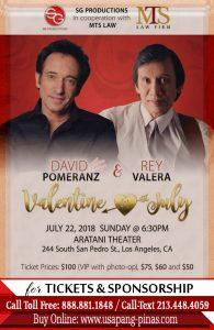 David-Pomerance, Rey Valera Valentine In July 22 Online Ticket
