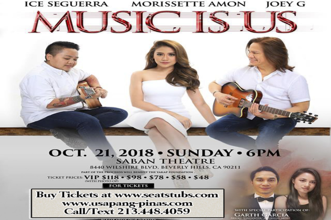 Morissette Concert, Aiza Seguerra Concert, Joey G Concert Music Is Us Beverly Hills Oct 21