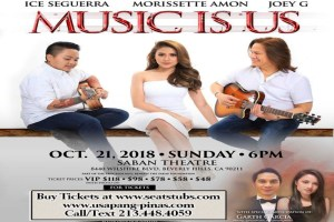 Morissette Concert, Aiza Seguerra Concert, Joey G Concert Music Is Us Beverly Hills Oct 21