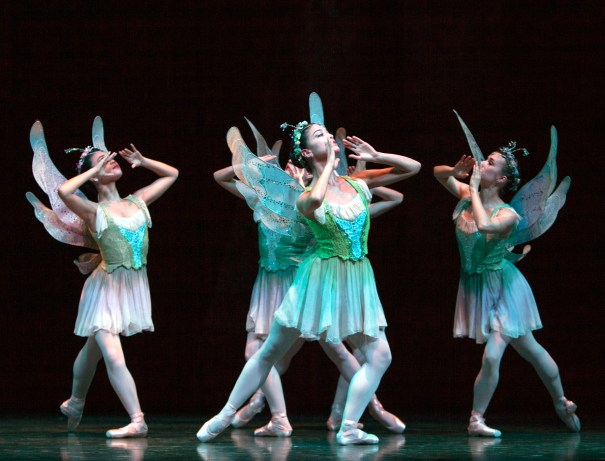 Liora Neuville leads Oberon's butterfly attendants in A Midsummer Night's Dream Photo © Angela Sterling