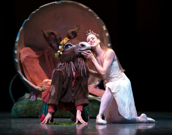 Ezra Thomson as Bottom and Lesley Rausch as Titania in A Midsummer Night's Dream Photo © Angela Sterling