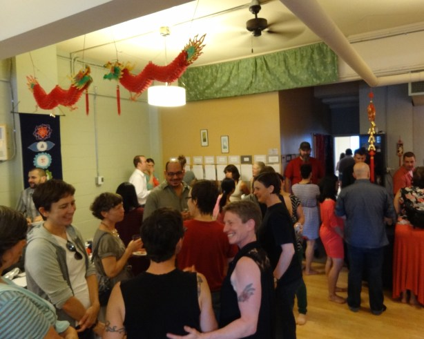 Guests mingle at a July 2014 fundraiser for choreographers Michele Miller and Alana O Rogers Photo by Ryan Goldstein