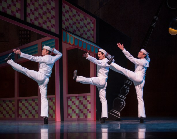 Pacific Northwest Ballet principal dancers (l-r) Seth Orza, James Moore, and Jonathan Porretta in Jerome Robbins' Fancy Free, Photo © Angela Sterling.