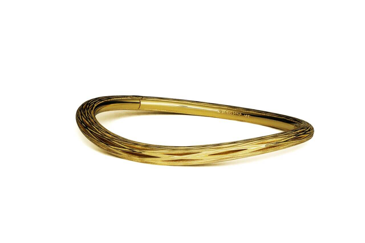 Pascal LaCroix Weave New Reeds Yellow Gold Hinged Bangle