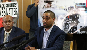 History teacher Jesse Hagopian talks about his $100,000 settlement with the City of Seattle after being pepper-sprayed by a police officer last year. Hagopian is using the proceeds from the settlement to fund youth activists and community-based organizations. Staff Photo/Chris B. Bennett.