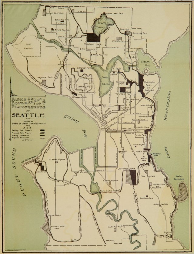 """Hand-drawn map of Seattle, titled """"Parks, Boulevards and Playgrounds of Seattle,"""" issued by the board of park commissioners in 1909."""