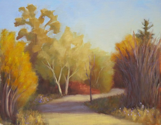 painting of trees in fall with wide path leading between them