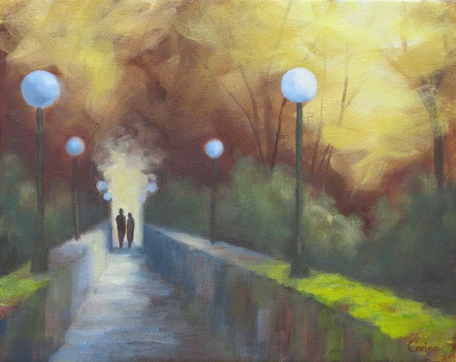 painting of view across narrow pedestrian bridge with side wallsand globe lights and two people in silhouette at far end