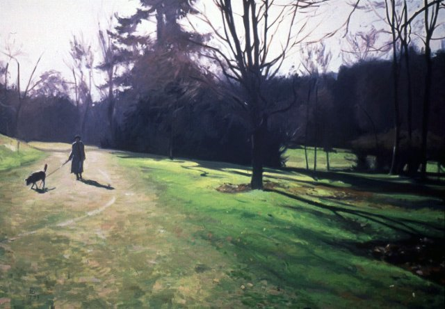 painting of woman walking dog among lawn and trees, all figures in dark silhouette