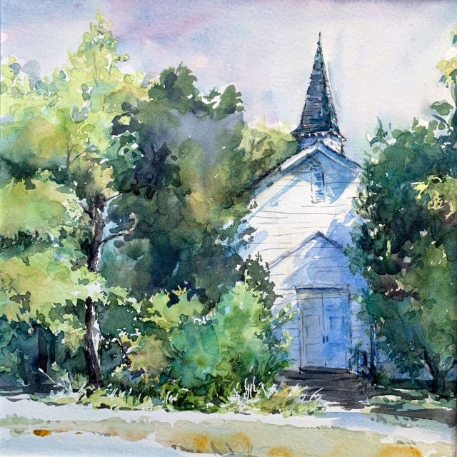 watercolor of white chapel with steeple surrounded by green vegetation