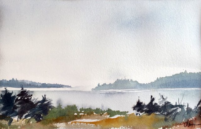 watercolor of Puget Sound with distant shore and open meadow in foreground