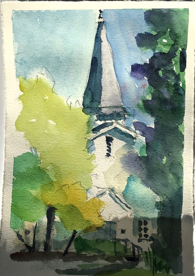 watercolor of white chapel entrance with steeple, vegetation surrounding