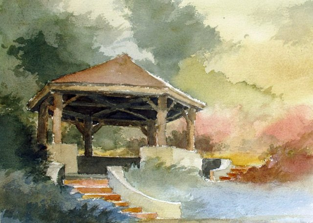 watercolor of hexagonal picnic shelter, viewed from downslope with stairs and vegetation