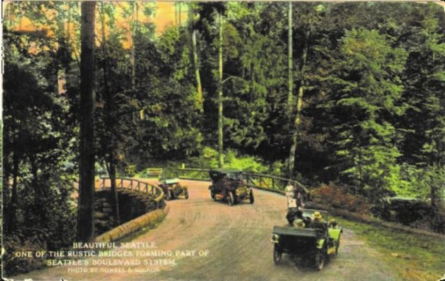 Historical photo showing rustic road bridge in Interlaken Park