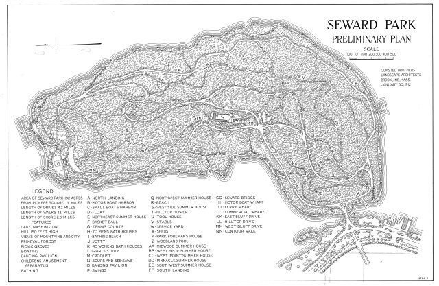 "black and white drawing labeled ""Seward Park Preliminary Plan"" and dated January 30, 1912"