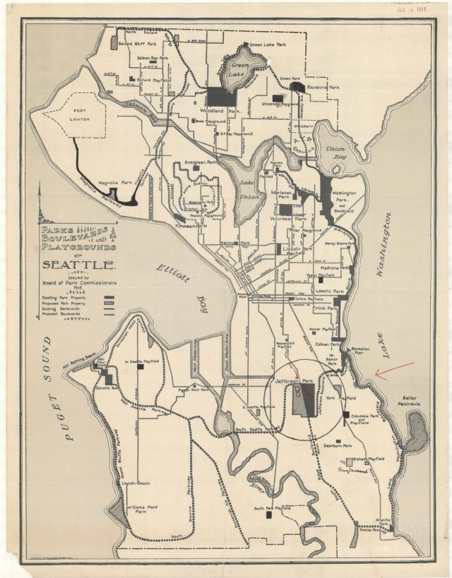 sepia photo of old map of Seattle parks