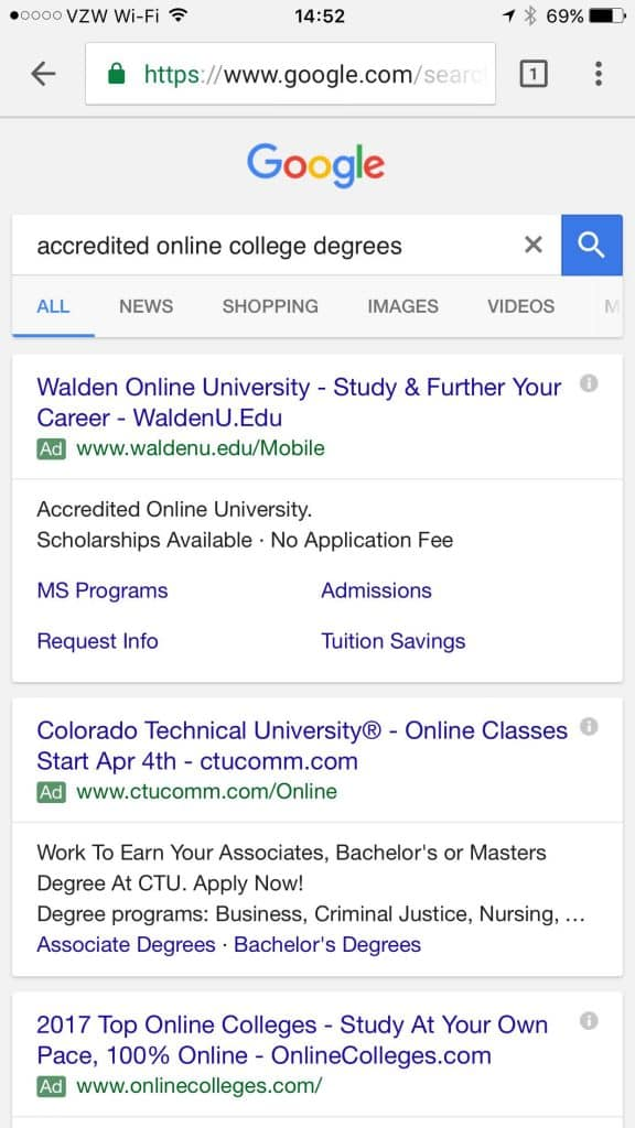 iPhone 6 google search result for accredited college degree search