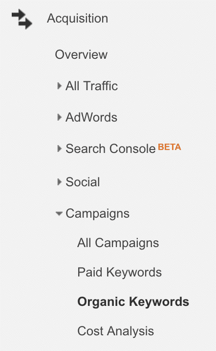 organic seo traffic in google analytics