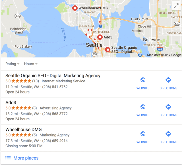 google 3 pack of listings