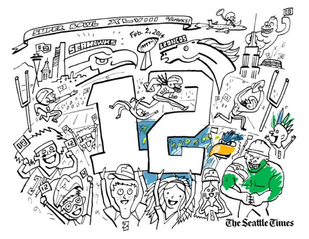 12th man kids color your own super bowl scene  seahawks