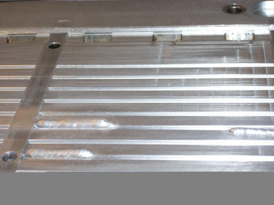 Finished welds on aluminium