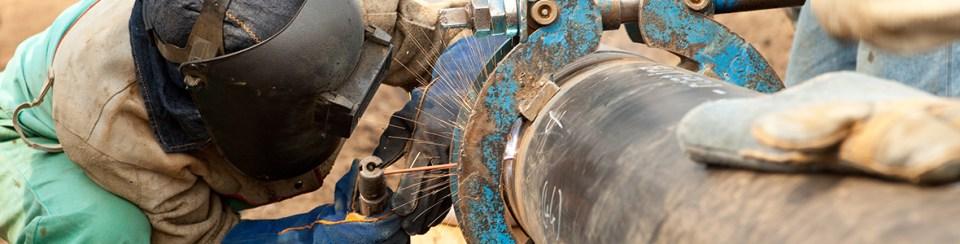 Welder making doing spot welding