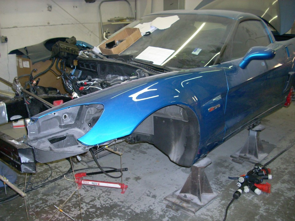 Shell of car after being painted