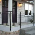 Newly installed railings on home porch
