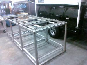 aluminiium framed box on the ground