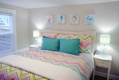 The Basement Bedroom features a king size bed.