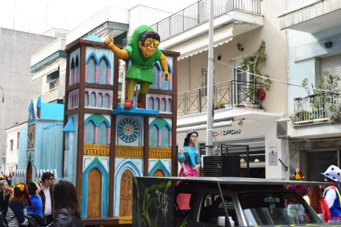 Carnival in Xanthi - the great parade of floats and people with funny costumes.