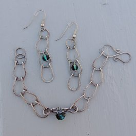 image of Vintage look silver bracelet and earring set