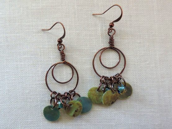 Hammered copper circle in circle earrings