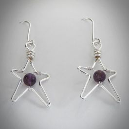 Silver wire star earrings
